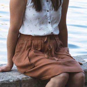 Anthropologie Maeve brown tan skirt